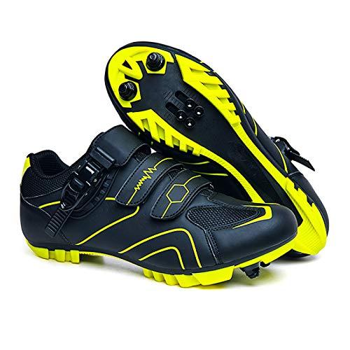 Calzado de Ciclismo Hombre, Moutntain Zapatillas De Ciclismo para Hombre Zapatillas De Bicicleta - Zapatillas De Bicicleta Profesionales para Mujer para Spin Transpirable Adulto Unisex,Yellow-44