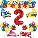 Decoración de globos de cumpleaños de tráfico para niños, globo de número rojo gigante [2], tema de tráfico, decoración de globos de feliz cumpleaños, avión, tren, autobús, yate