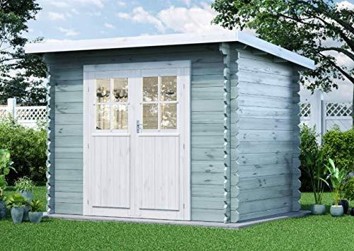 Alpholz Gartenhaus Korfu-28 aus Massiv-holz | Gerätehaus mit 28 mm Wandstärke | Garten Holzhaus mit Imprägnierung (pinie) | Geräteschuppen Größe: 260 x 200 cm | Pultdach