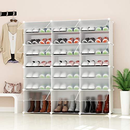JOISCOPE PREMAG Portable Shoe Storage Organizer Tower, White with transparent doors, Modular Cabinet Shelving for Space Saving, Shoe Rack Shelves for shoes, boots, Slippers(3 * 7-tier)