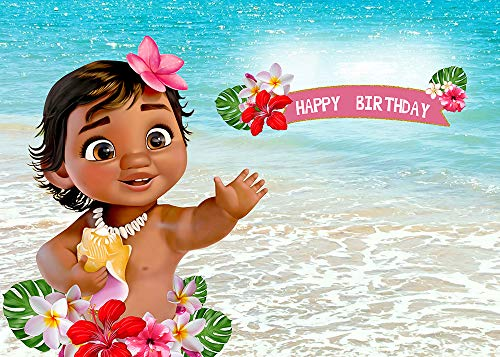 TJ 7X5FT Baby Moana Backdrop 1st Birthday Party Decor Banner Sea Blue Water Summer Photography Backdrop Baby Shower Moana Vinyl Background Table Decoration