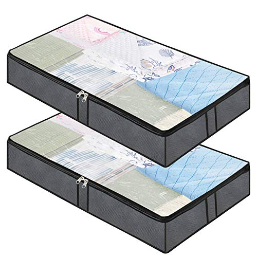 Underbed Storage Containers - 2-Pack, Underbed Storage Box for Clothing Blankets Comforters Organizer with Firm Side Walls and Reinforced Handle (Grey)