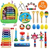 Ballery Juguetes de Instrumentos Musicales, 25pcs Instrumentos Musicales para Infantil, Juguetes Músicales de Percusion para Bebes, Xilófono Madera Set de Instrumentos Musicales para Niños
