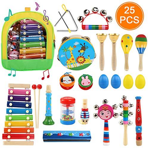 Ballery Strumenti Musicali per Bambini, 25pcs Set Strumenti Musicali Percussioni Giocattolos in Legno, Giochi Musicali per Bambini con Sacca portaoggetti