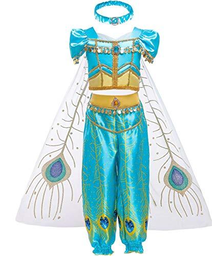 LOBTY Niña Aladdin Princesa Jasmine Disfraz Tops Pantalones Manga Corta Traje Cosplay Actuación Carnaval Navidad Regalo Cumpleaños Danza Vientre Vestido de Princesa 3-10Años