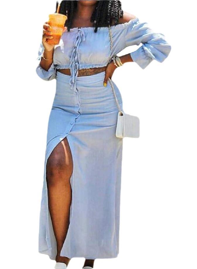 作者対立松Women 2 Piece Off Shoulder Long Sleeve Crop Top and Long Skirt Bodycon Outfits