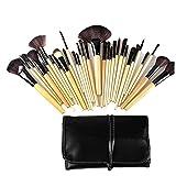 Juego de 32 brochas de maquillaje profesional, kit de maquillaje para base de polvo, sombra de ojos, polvo de cara, colorete, pintalabios con bolsa (log)