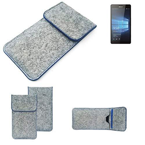 K-S-Trade Filz Schutz Hülle Für Microsoft Lumia 950 XL Dual SIM Schutzhülle Filztasche Pouch Tasche Hülle Sleeve Handyhülle Filzhülle Hellgrau, Blauer Rand