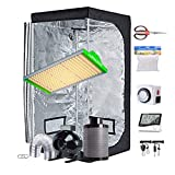 """ConyLite Grow Tent Kit Complete Package New Tech APQ300 LED Grow Light Full-Spetrum, 32""""X32""""X63""""Indoor Mylar Grow Tent, 4"""" Fan Filter Combo Ventilation Kit for Hydroponic Growing System"""