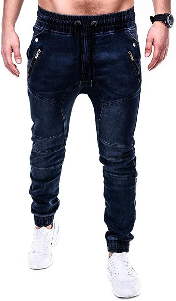 AKIMPE Men's Casual Youth Series Personality Slim Fit Denim Jeans Pants