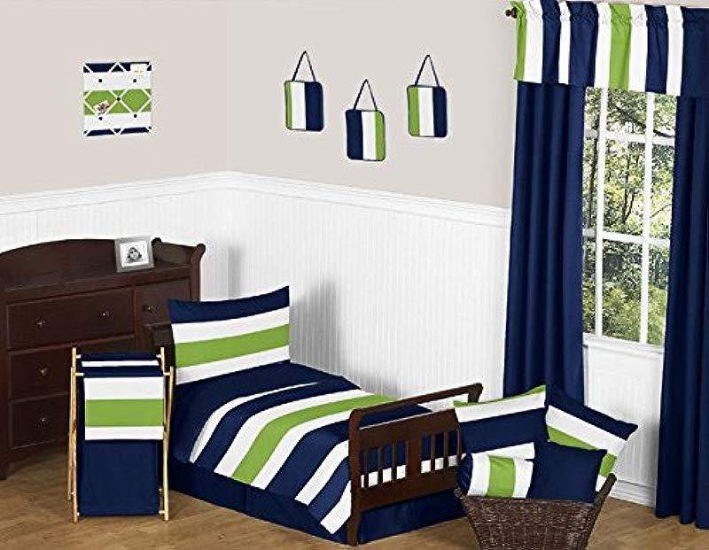 Sweet Jojo Designs 5 Piece Navy Blue And Lime Green Stripe Boys Kids Toddler Bedding Comforter Sheet Set