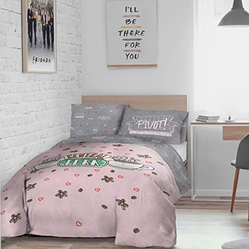 Warner Brothers Friends Central Perk Reversible Duvet Cover and Pillowcase Set-Double (200cm x 200cm), Polyester, Pink Grey