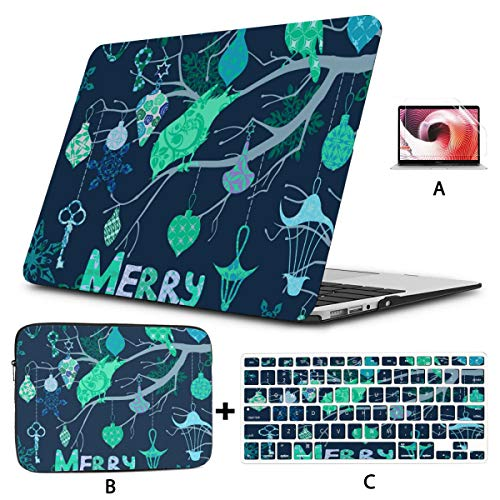 MacBook Air 13 Inch Case 2020 2019 2018,Dark Blue Christmas Card with Birds and Plastic Hard Shell,Sleeve Bag,Keyboard Cover,Screen Protector Compatible with MacBook Pro 13 Inch USB-c