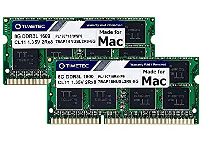 Timetec Hynix IC 16GB KIT(2x8GB) Compatible for Apple DDR3L 1600MHz PC3L-12800 for Early/Mid/Late 2011, Mid/Late 2012, Early/Late 2013, Late 2014, Mid 2015 MacBook Pro, iMac, Mac Mini(16GB KIT(2x8GB))