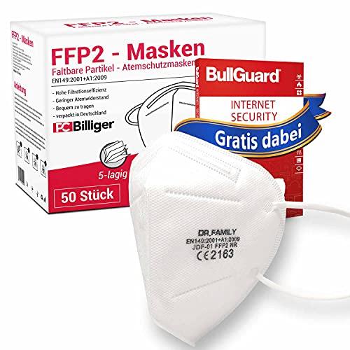 50 Stück FFP2 Masken von Dr.Family + GRATIS BullGuard Internet Security 3 User - CE Zertifiziert Mundschutz 5-lagig Maske mit versteckten Nasenbügel hygienisch verpackt