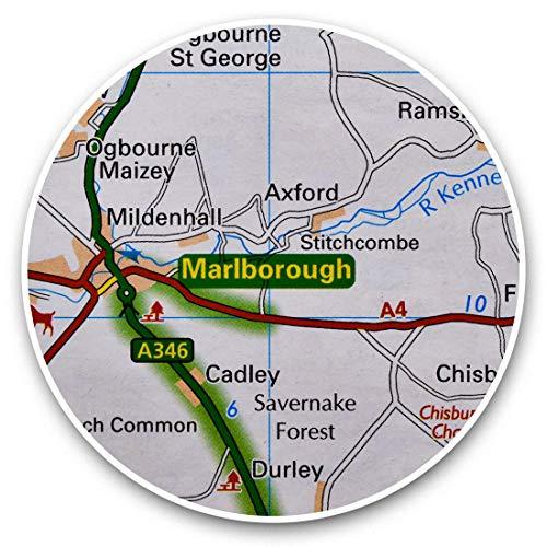 Fantastico adesivo in vinile (set di 2) 7,5 cm – Marlborough Travel England UK Map divertenti decalcomanie per computer portatili, tablet, bagagli, prenotazione di rottami, frigorifero, regalo cool #45679