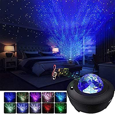 Starry Night Light Projector Bedroom,Ocean Wave Projector w/LED Nebula Cloud and Bluetooth Music Speaker As Gifts Decor Birthday Party Wedding Bedroom Living