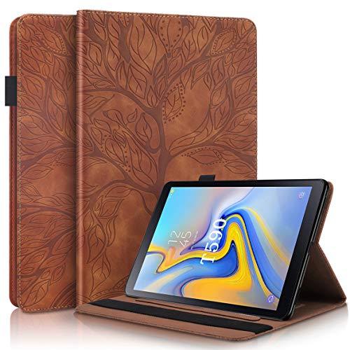 KM-WEN® Funda para Samsung Galaxy Tab A SM-T590 (10,5 pulgadas), diseño de árbol grande en relieve, piel sintética, con función atril), color marrón