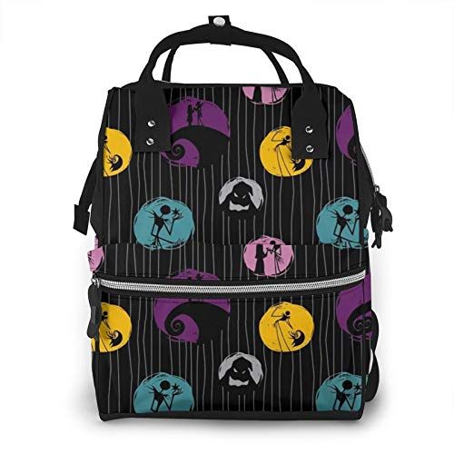 Binheiyi The Nightmare Before Christmas Mummy Backpack Portable Waterproof and Multi-Function Travel Backpack Large Diaper Bag Nappy Bags