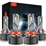 LAWTOOLIGHT 4-Pack H11/H9 9005/HB3 LED Light Bulbs, 80W 12000LM 300% Brighter, 6500K Cool White LED Bulbs Conversion Kit, IP68 Full Waterproof, High Low Bulbs Fog Light, Halogen Replacement