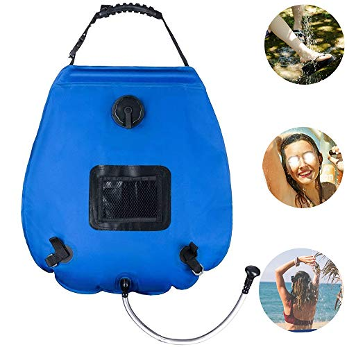 Solar Outdoor Shower Camping Shower Bag Removablehead5 Gallons/20L Portable Camping Shower Bag WithStorage Bag for Camping Traveling Hiking Beach Swimming