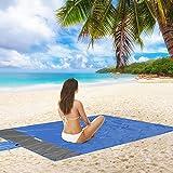 JIMACRO Manta de Playa Impermeable Manta de Picnic Doble Capa Estera de Playa sin Arena 145x200cm Estera de Picnic Lavable con 4 Clavos Fijos para Viajes, Campamentos, Caminatas