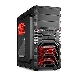 Sharkoon VG4-W Rot PC-Gehäuse mit Window Kit (2x USB 3.0, 2x USB 2.0, ATX) schwarz/rot