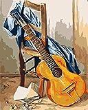 Pintar por Numeros Adultos Niños Taburete De Guitarra Cuadros por Numeros con Pinceles Lienzo y Pinturas Acrilicas DIY Kit Conjunto Completo de Pinturas Para el Hogar Cuadros(40 * 50cm, Sin Marco)