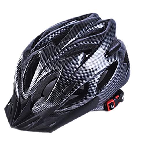 Silverdee Fahrradhelme Mattschwarz Herren Damen Fahrradhelm Rücklicht MTB Mountain Road Bike Integral geformte Fahrradhelme - Carbon Black