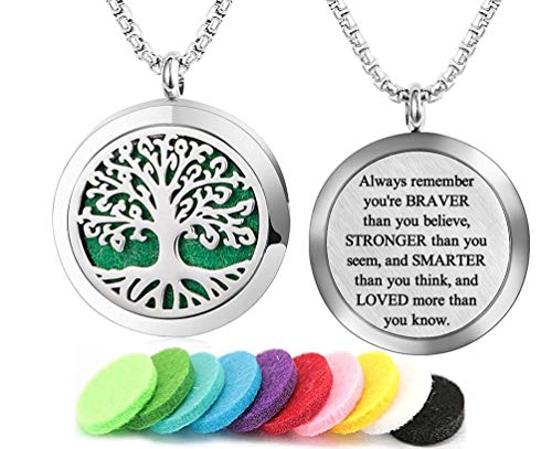 Aromatherapy Essential Oil Diffuser Necklace Tree of Life Pattern Stainless Steel Locket Pendant with 24 Inch Chain