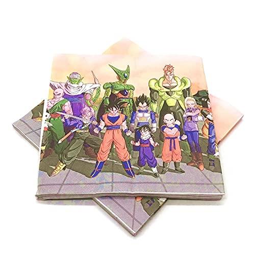 PPuujia Geburtstagsparty-Zubehör Hot Cartoon Son Goku Thema Einweggeschirr Set Teller Becher Servietten Spiel Party Dekorationen Babyparty Geburtstag Party Supplies (Farbe: 107 Set)