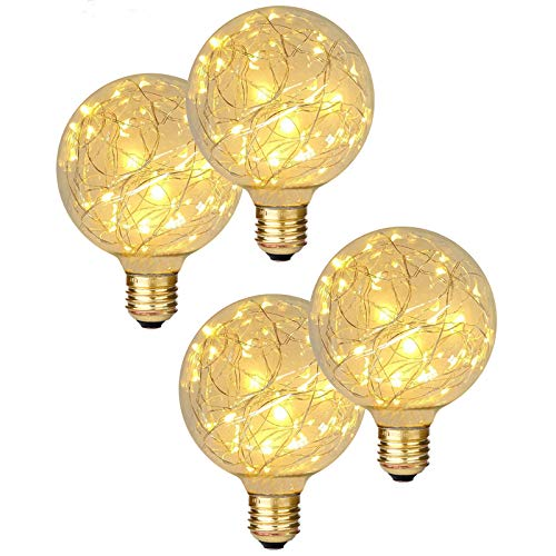 Beilf Globe Decorative LED Fairy Lights Bulb G30(G95), E26 Base, 85~265V, Flicker Free, Glass, Warm White 2200K, 2W Low Wattage Specialty Fancy Light Bulbs for Decorating Your Home, 4 Pack