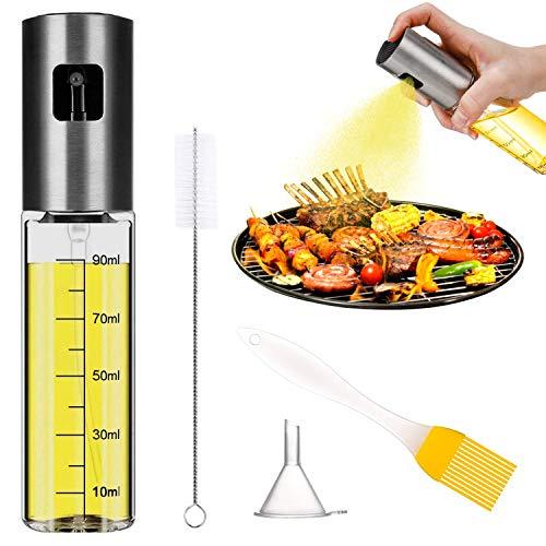 Aspiree Pulverizador de Aceite, Dispensador de Aceite de Oliva, Spray Aceite Cocina 100ML - con Cepillo de Barbacoa, Cepillo de Limpieza y Embudo (1 unidades)