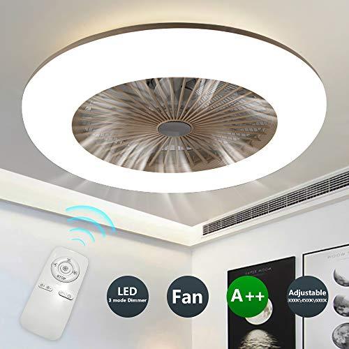 H.W.S Ventilatore A Soffitto Illuminazione LED Luminosa Regolabile di velocità del Vento 3 Dimmerabili Telecomando 36W Moderna per La Camera da Letto Soggiorno,Marrone