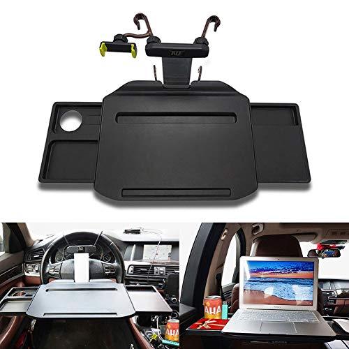 Mesa para ordenador de coche, Escritorio para computadora, Bandeja de comedor para volante y asiento trasero con 2...