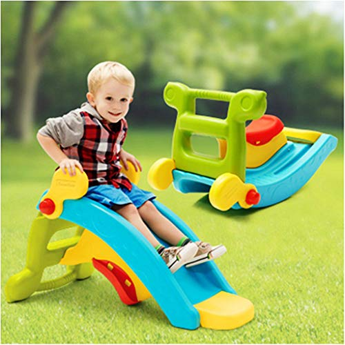 Baby Rocking Horse Slide Set, 3-in-1 Toddler Slide & Rocking Toy Lightweight Sturdy Portable Play Slide Climber, Indoor/Outdoor Climber and Swing for Christmas/Birthday Gift (Multicolour)