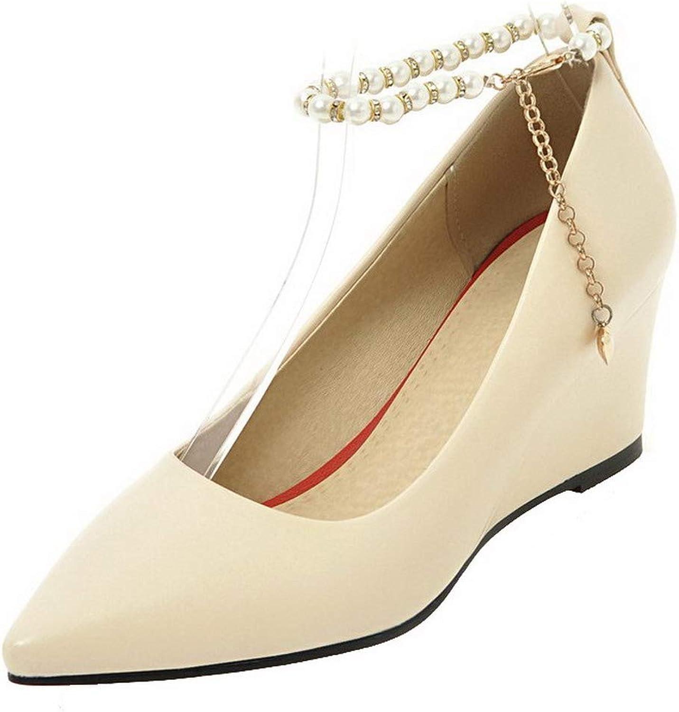 AmoonyFashion Women's Kitten-Heels Solid Buckle Pu Pointed Toe Pumps-shoes,BUSDT004263