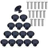 15 piezas Pomo de Armario Redondo Tirador para Cajón Pomos Redondos Pomos para Cajones de Acero Inoxidable de 30 mm con Tornillos para Cajones de Armarios Puertas de Cocina Muebles Negro
