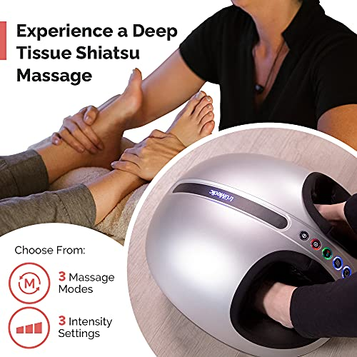 Shiatsu Foot Massager Machine with Heat by truMedic, Deep Kneading Massage Therapy and Air Compression for Tired Muscles and Plantar Fasciitis, IS-4000i
