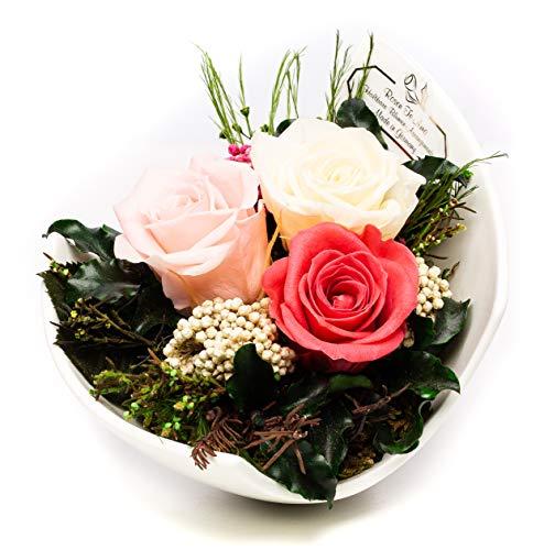 Rosen-Te-Amo Premium Blumenstrauß aus 3 konservierte Rosen in Porzellan Vase; Infinity Blumen in der Keramik: mit Liebe handgefertigt – 3 Jahre haltbar ohne Wasser