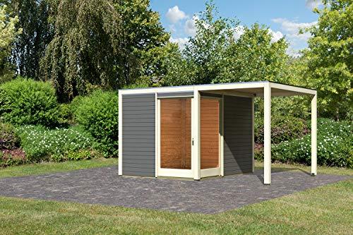 Unbekannt Karibu Gartenhaus QUBU ECK Set terragrau 304x304cm + Anbaudach Holzhaus 28mm