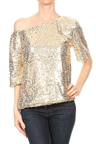Anna-Kaci Damen EIN Schulter Kurzarm Blingeling Glitzer Pailletten Lose Bluse Batwing T-Shirts Vintage Tops Oberteile, X-Large, Gold