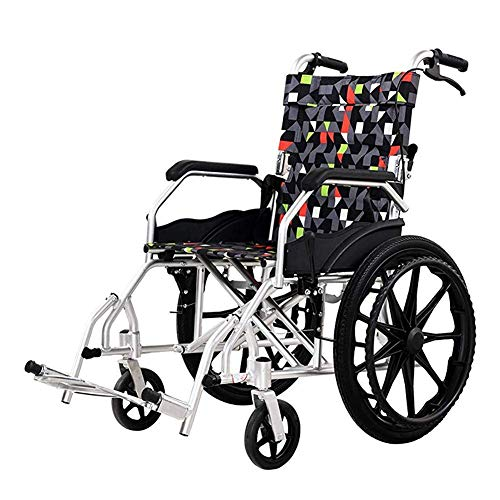 YAeele shockproof Wheelchairs Folding Lightweight Self Propelled with Attendant Brakes, Aluminium Wheelchair Rollator Quick Release Rear Wheels Fg Portable bus travel chair, movable footrest, wide