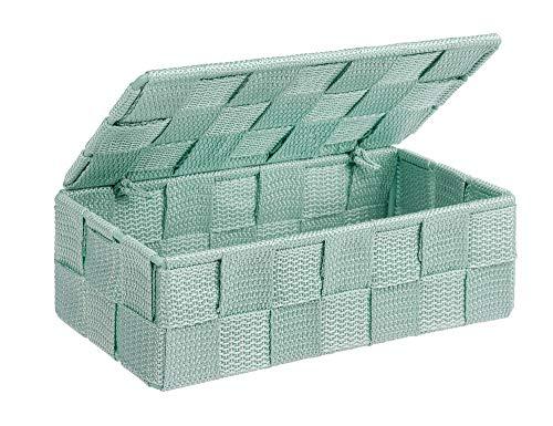 WENKO Aufbewahrungskorb mit Deckel Adria Mint Mini Füllkörbchen Wäschebox Ablage