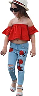 Kehen- Trajes de Verano para niña, 2 Piezas con Volantes en la Parte Superior + Jeans elásticos Destrroy Ripped