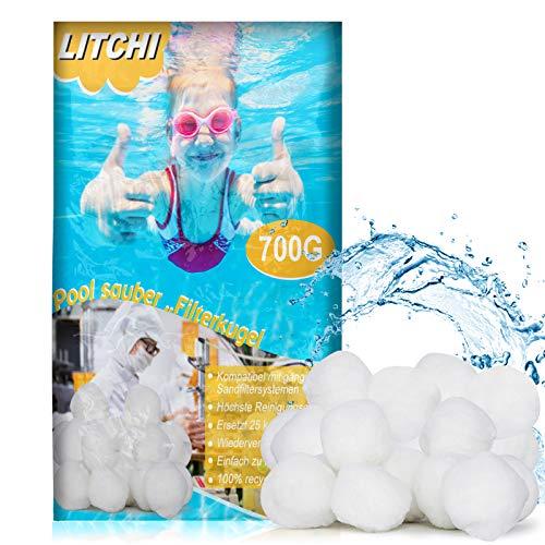 Litchi Filterballs für Sandfilteranlagen - Poolpumpe Sandfilter Pool Filter Balls 700g -Umweltfreundlicher Ersatz für Quarzsand und Filterglas - filterbälle für Sandfilteranlage