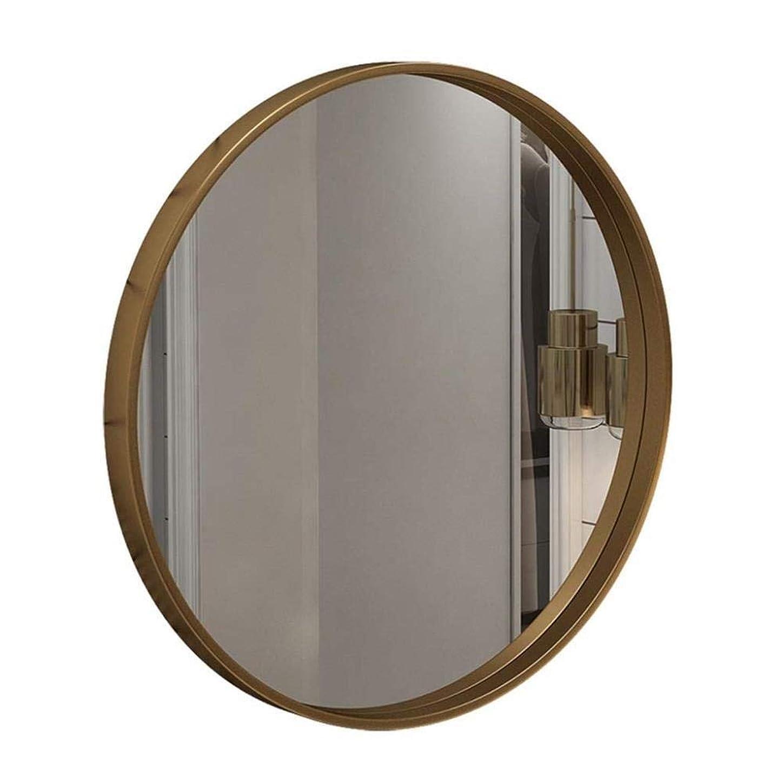 スペル伝統ゆりDjyyh メイクミラーハンギングラウンドウォールのバスルームの鏡をミラー サークルウォールマウント化粧メイクやシェービング用ミラー サークル平面ミラー 装飾的な鏡 ゴールドメタルフレームバスルームの家具 (Size : 60CM)
