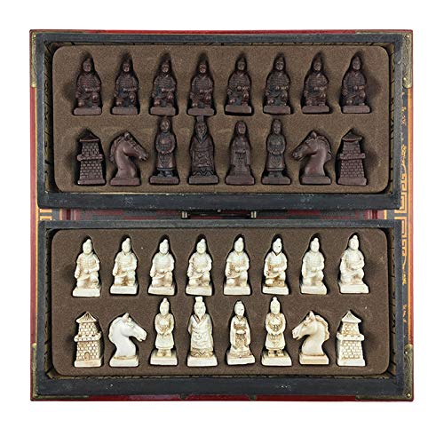 Classic International Chess Board Games Set Terra Cotta Warriors Or Manchu Troops International Chess Wooden Chess Set Game Resin Chess Pieces Wooden Cassette Chess Board