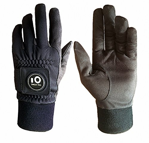 FINGER TEN Men Winter Golf Gloves Warm with Ball Marker Grip Performance Value 1 Pair Large Cold Weather Windproof Size from Medium to XL (Large)