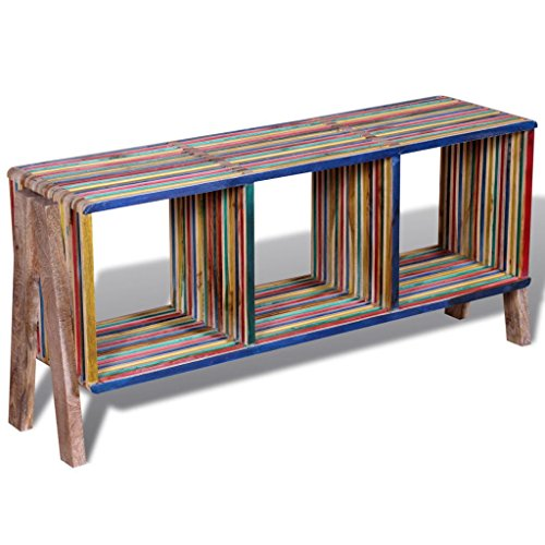 Lingjiushopping TV kast met 3 planken Stapelbaar Reclaimed Teak Kleurrijk: Reclaimed teak Totale grootte: 110 x 30 x 50 cm (L x B x H)
